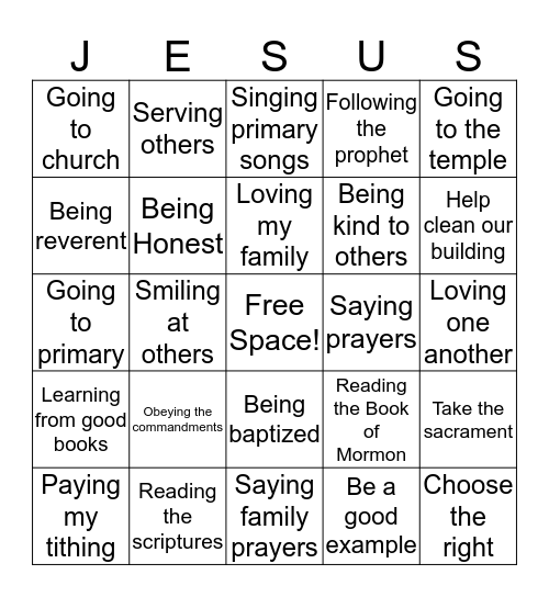 Showing Love for Jesus Christ Bingo Card
