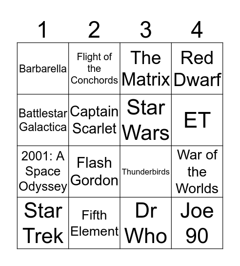Femta-Galactic Bingo Card