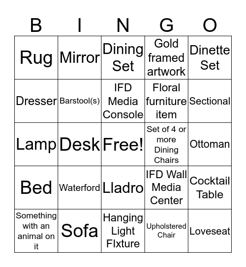 Acosta's Consignment Bingo Card