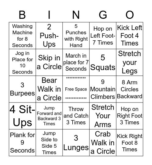 Exercise Bingo Card