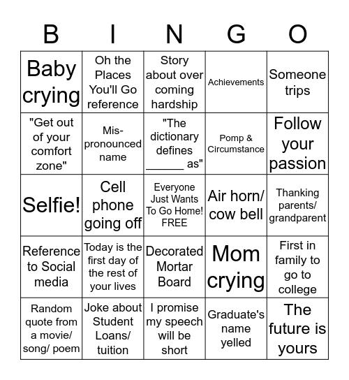 Alex & Aj's Official Graduation Bingo  Bingo Card