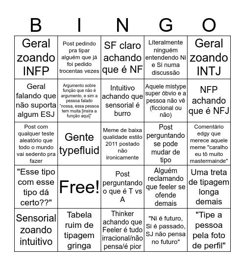 Bingo dos 16 Tipos Bingo Card