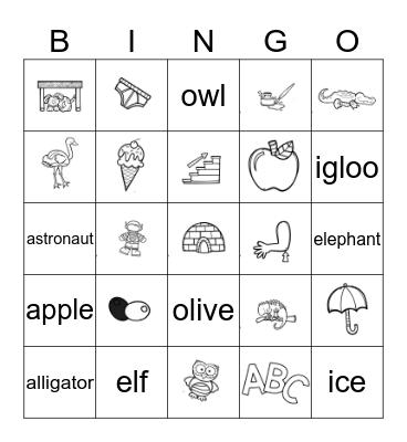 Vowels Bingo Card