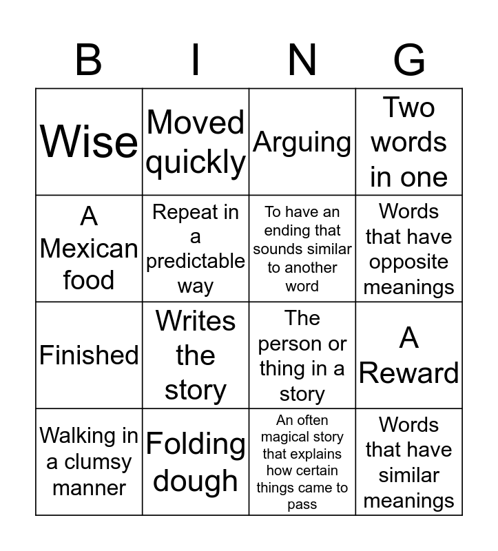 Lit-Art Bingo Card