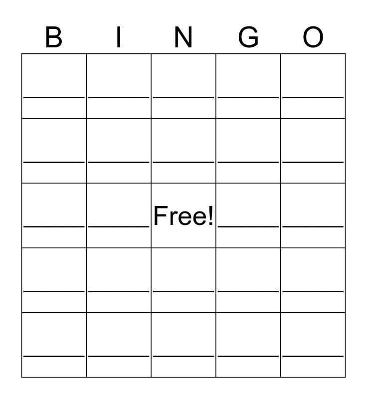 Exponent Rules Bingo Card