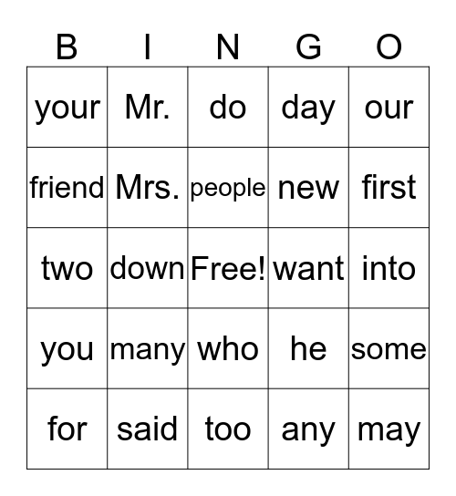 First Grade Trick Word Bingo Card