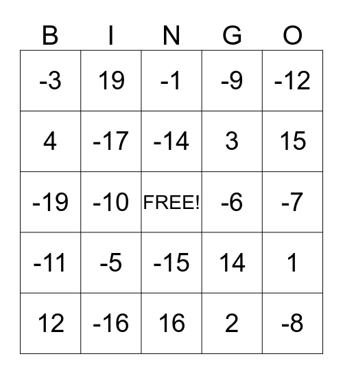 Eery Equations Bingo Card