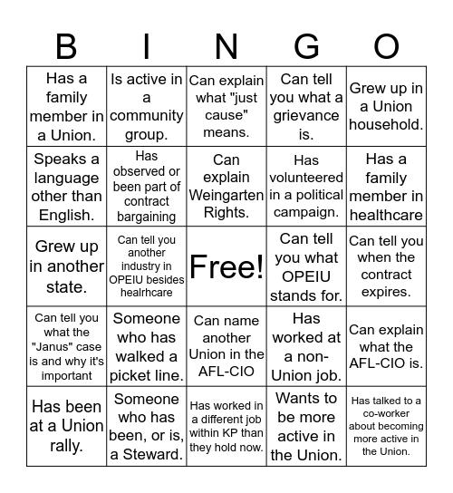 Union Bingo! Bingo Card