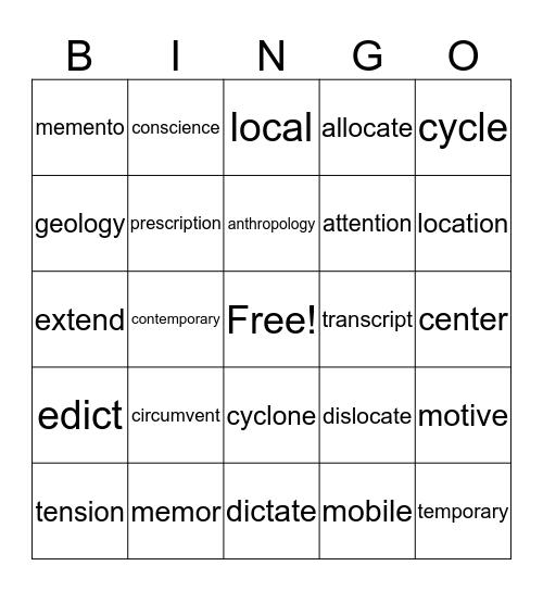. Bingo Card