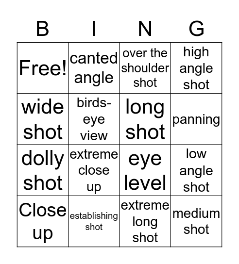 TV PRODUCTIONS Bingo Card