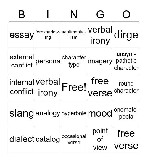 Exam Review Literary Terms Chs. 4,5,7 Bingo Card