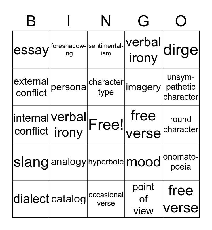 Exam Review Literary Terms Chs. 4,5,7 Bingo Card