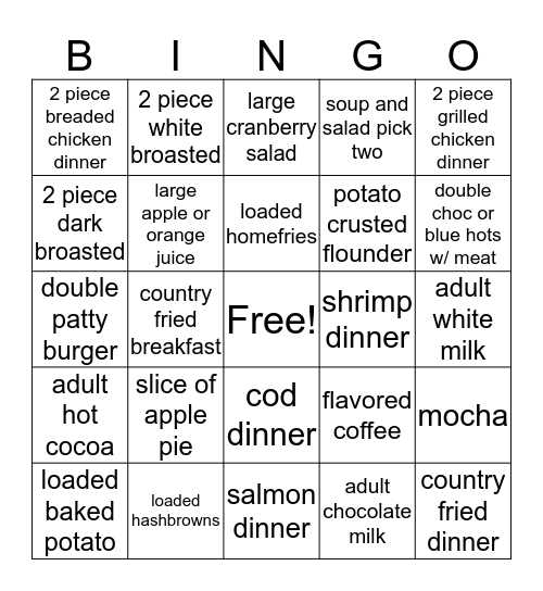 Bob's Bingo Card