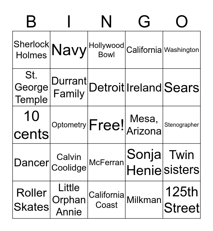 Mildred Chase: The Young Years Bingo Card