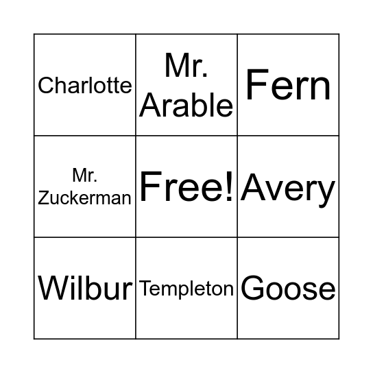 Charlotte's Web Bingo Card
