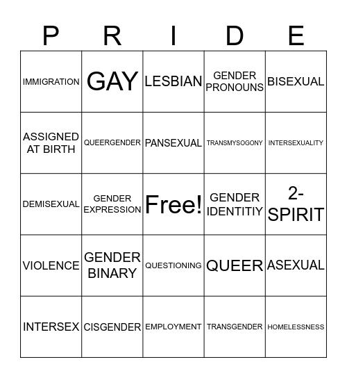 Pride Bingo Card