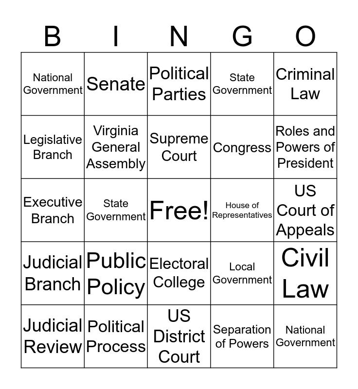 Final SOL Review 1 Bingo Card