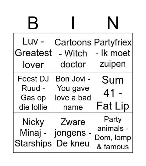 Klomppop 2018 Bingo Card