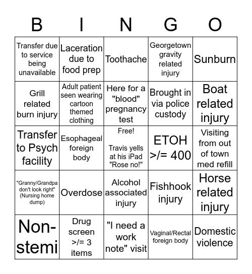 Memorial Day Weekend 2018 Bingo Card