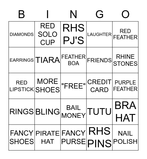 ANGELS IN RED Bingo Card