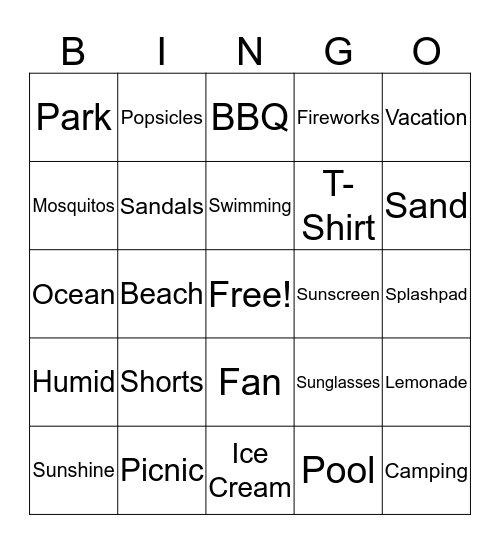 Summer Kickoff Bingo Card