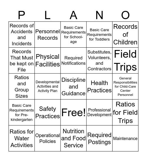 PLAN'O Bingo Card