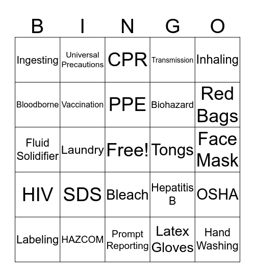 Bloodborne Pathogens / Haz-Com Bingo Card