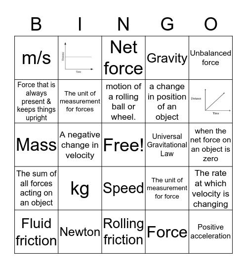 Motion & Forces BINGO Card