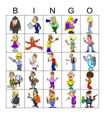 Funny Occupations Bingo Card