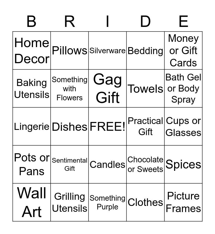 Bridal Shower Gift Bingo Card
