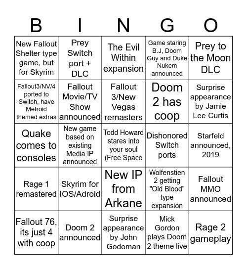 Bethesda Bingo Card