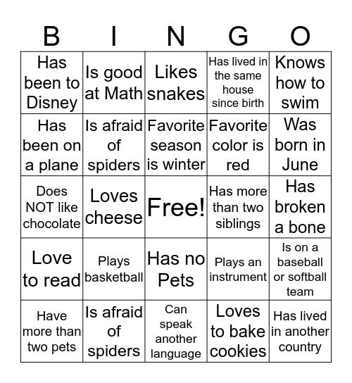 2018 Get to know you BINGO Card