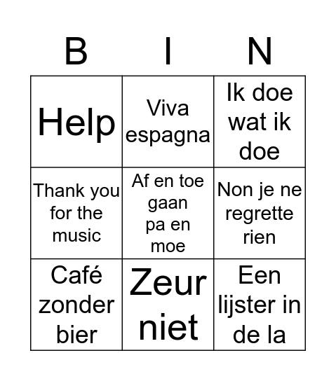 Bingo de Musica Bingo Card