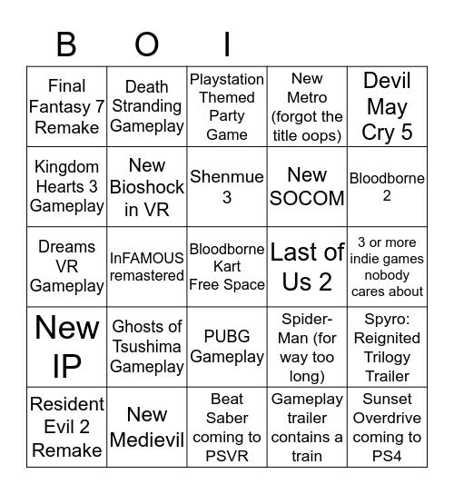 Playstation BINGO Card