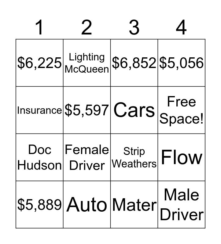 Auto Insurance Bingo Card