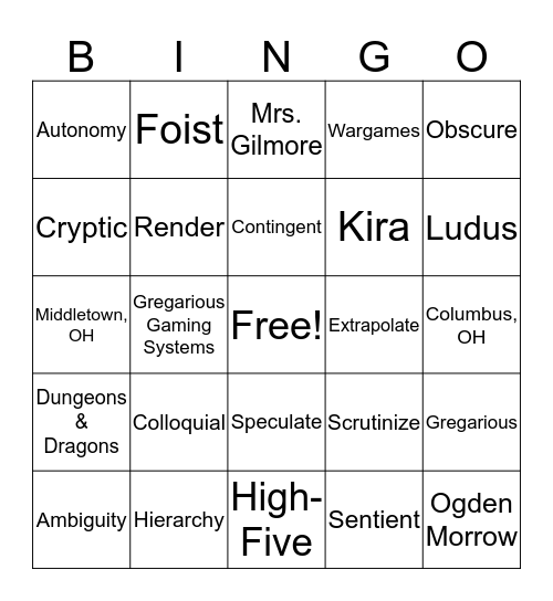 Level 1 Review Bingo Card