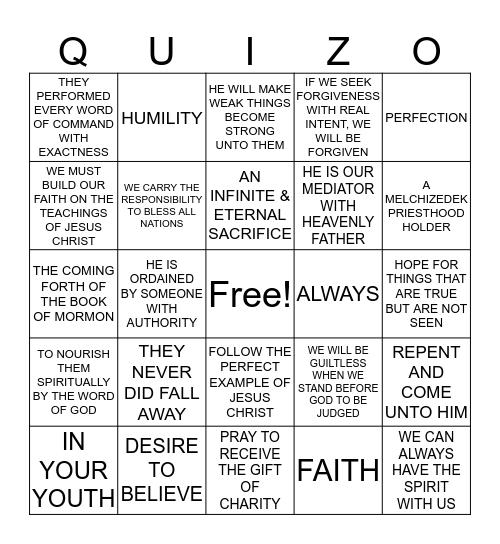 Alma 17 - Moroni 10 Bingo Card