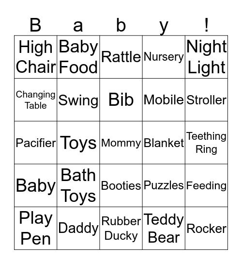 Baby Bean Bingo Card