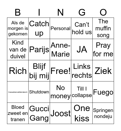 SWINGO Bingo Card