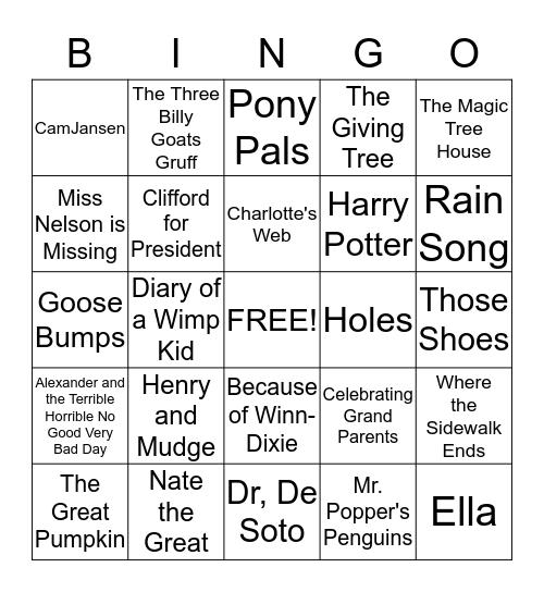 Book Title Bingo Card