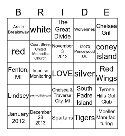 Alicia is getting married! Bingo Card