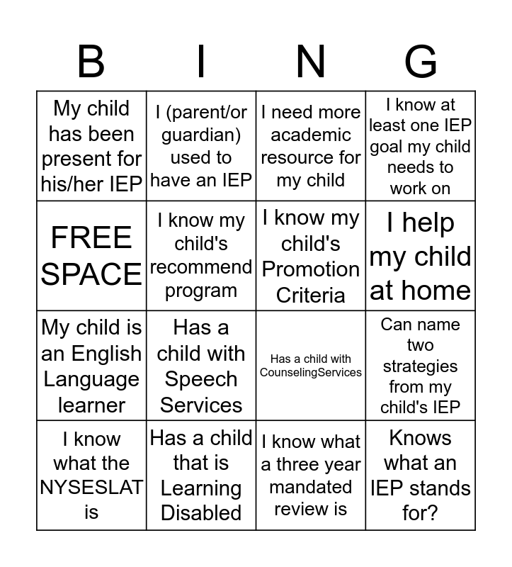 Getting to Know You!!!  Bingo Card
