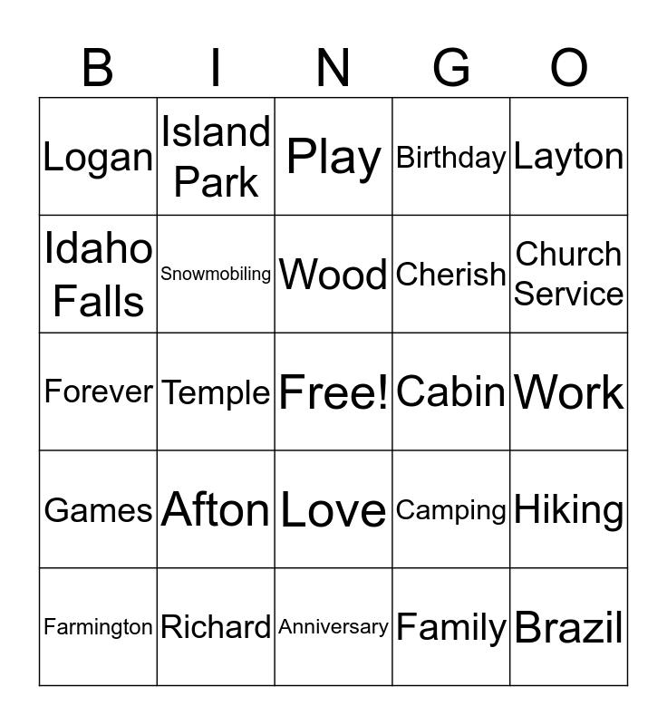 Wood Family Bingo Card