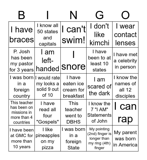 GMC Summer Bingo Card