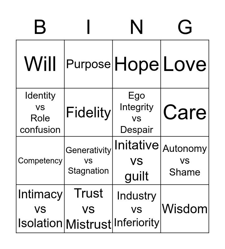 ERIK ERIKSON Bingo Card