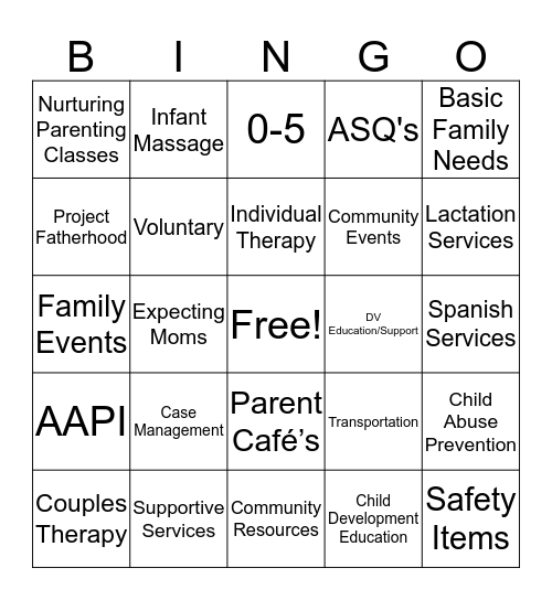 Partnerships For Families Bingo! Bingo Card