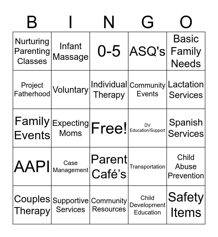 Partnerships For Families Bingo! Bingo Card