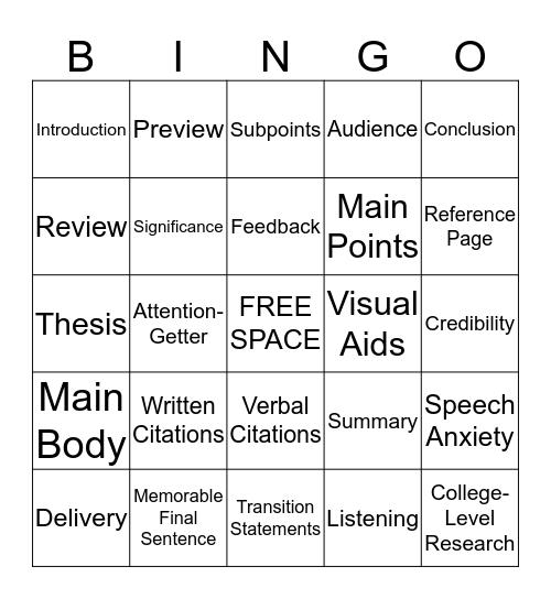 Public Speaking Bingo Card
