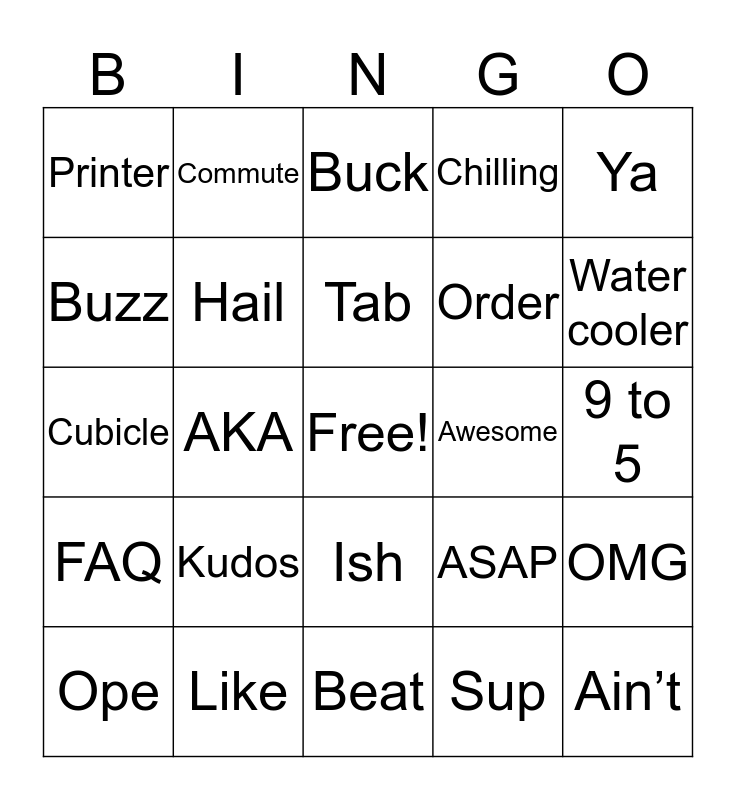 English Vocabulary Bingo!! Bingo Card