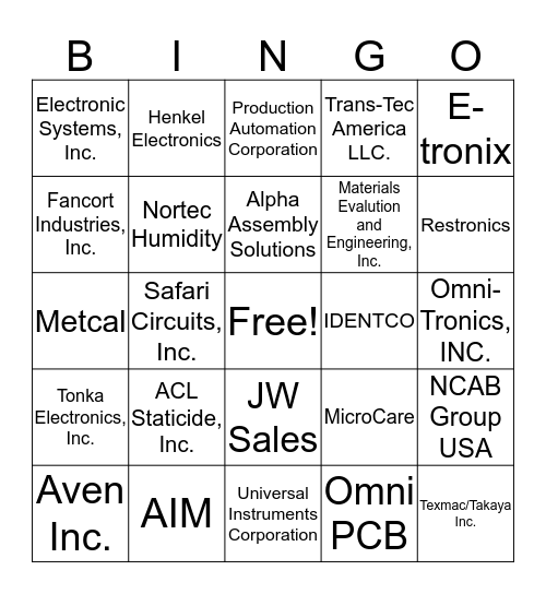 SMTA Upper Midwest Chapter Expo BINGO Card